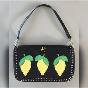 LULU GUINNESS BLACK CANVAS LEMON HANDBAG Black